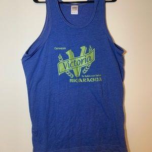 Shirts - Victoria Cerveza Nicaragua Mens Blue Tank Top XL